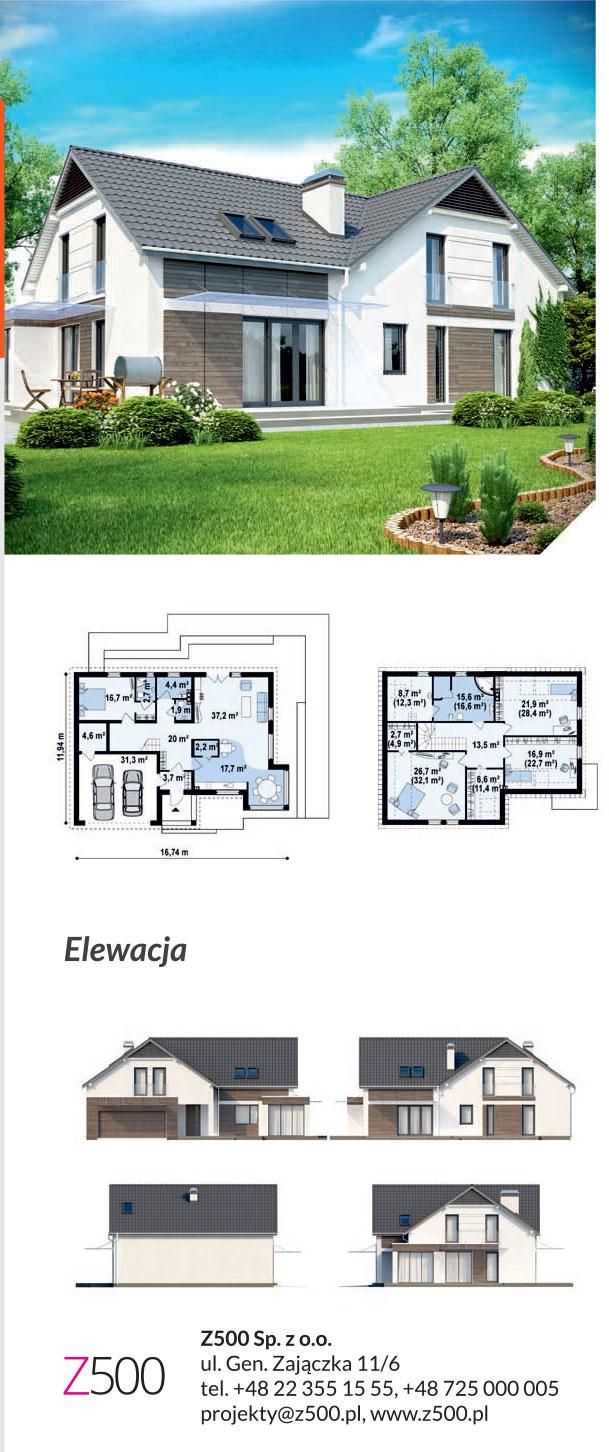 nowoczesny projekt domu drewnianego - z138