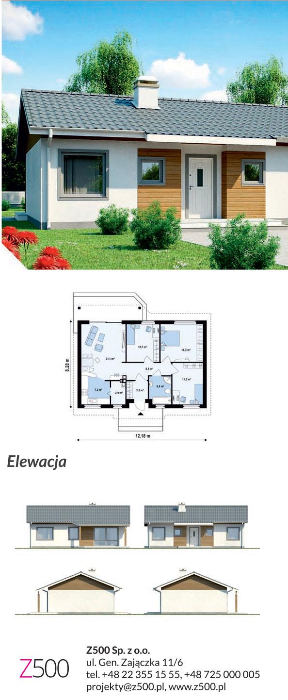 tanie projekty domów drewnianych - projekt z7