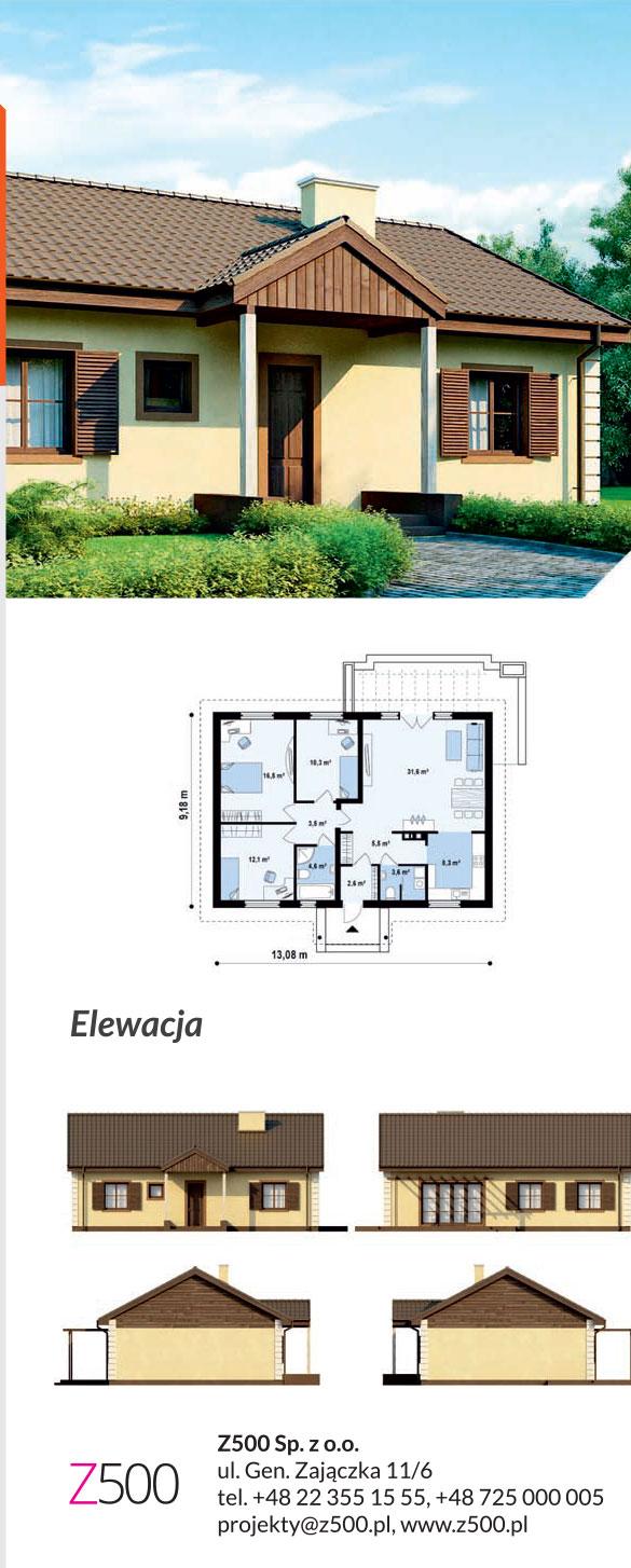 tanie projekty domów drewnianych - projekt z8