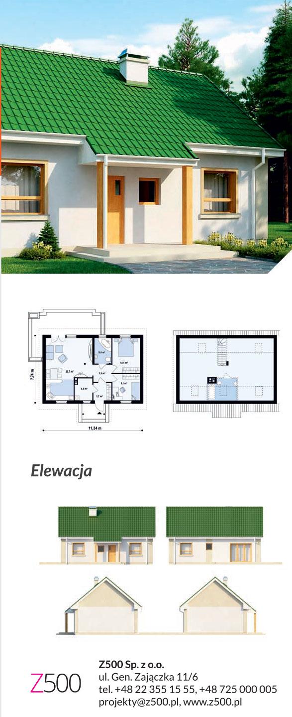 Tanie projekty domów drewnianych - projekt Z12
