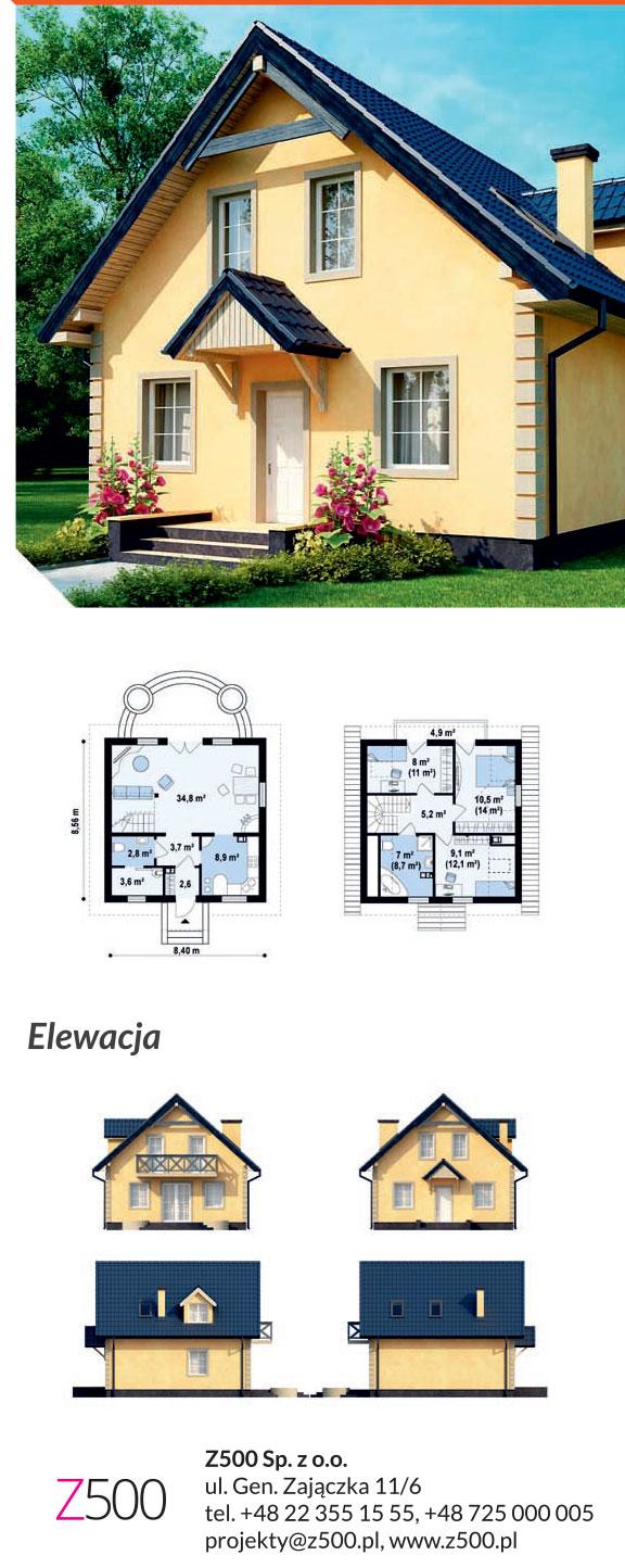Tradycyjny projekt domu drewnianego - niewielki dom Z1