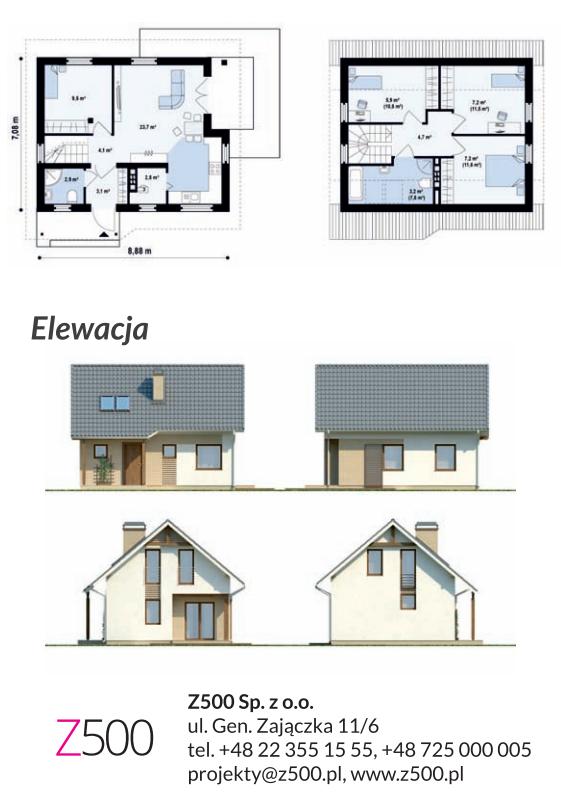 Drewniany dom szkieletowy Z71 - elewacja