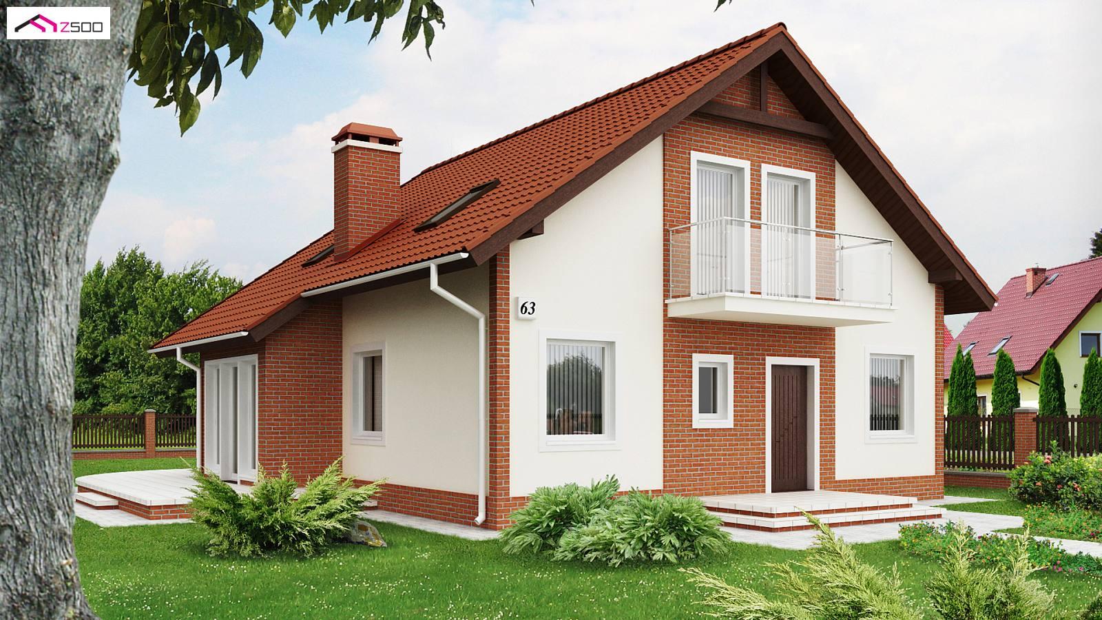 projekty domów drewnianych szkieletowych - z63